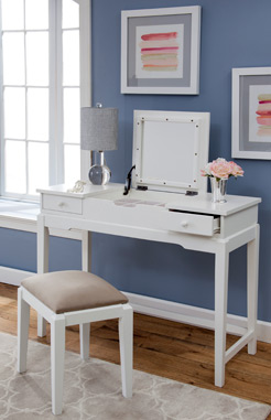 Vanity and Upholstered Bench by John Thomas