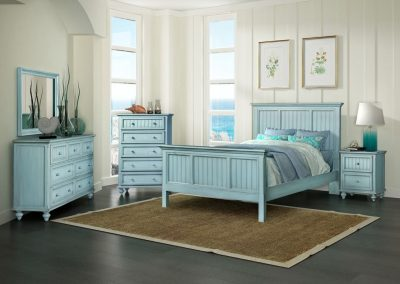 Monaco Bedroom in Distressed Coastal Blue by Sea Winds Trading Co