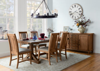 Farmhouse Chic Prevail chairs with Trestle Table in Bourbon by John Thomas